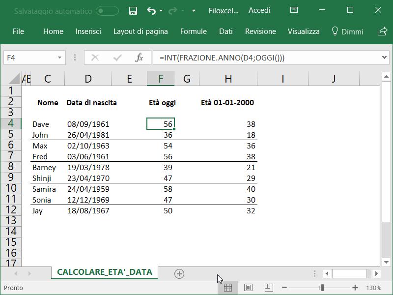 Microsoft Excel Calcolare Età Data 1