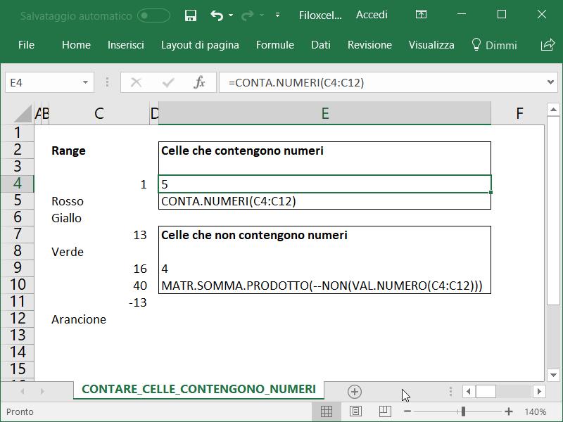 Microsoft Excel Celle Contengono Numeri