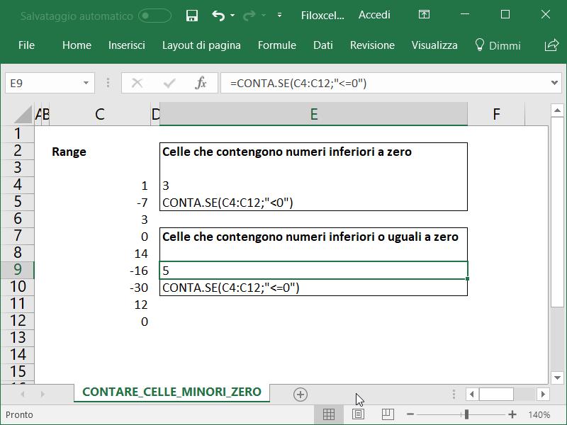 Microsoft Excel Celle Inferiori Uguali Zero