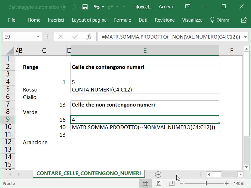 Microsoft Excel Celle Non Contengono Numeri