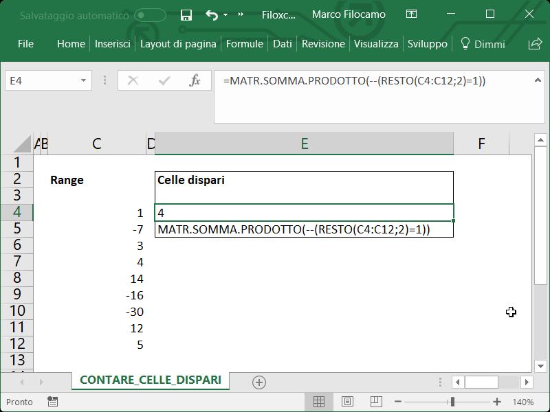Microsoft Excel Contare Celle Dispari