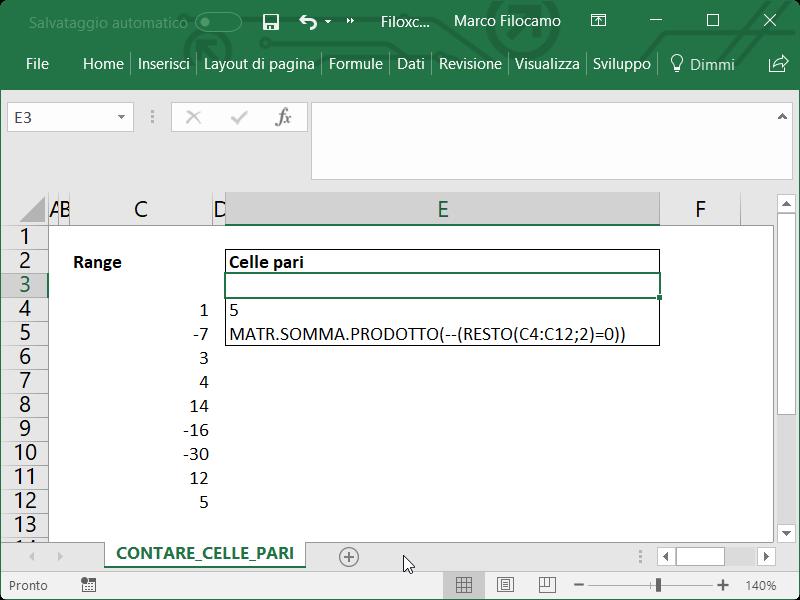 Microsoft Excel Contare Celle Pari