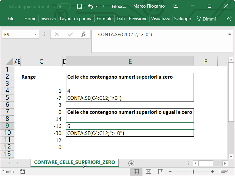 Microsoft Excel Contare Celle Superiori Uguali Zero