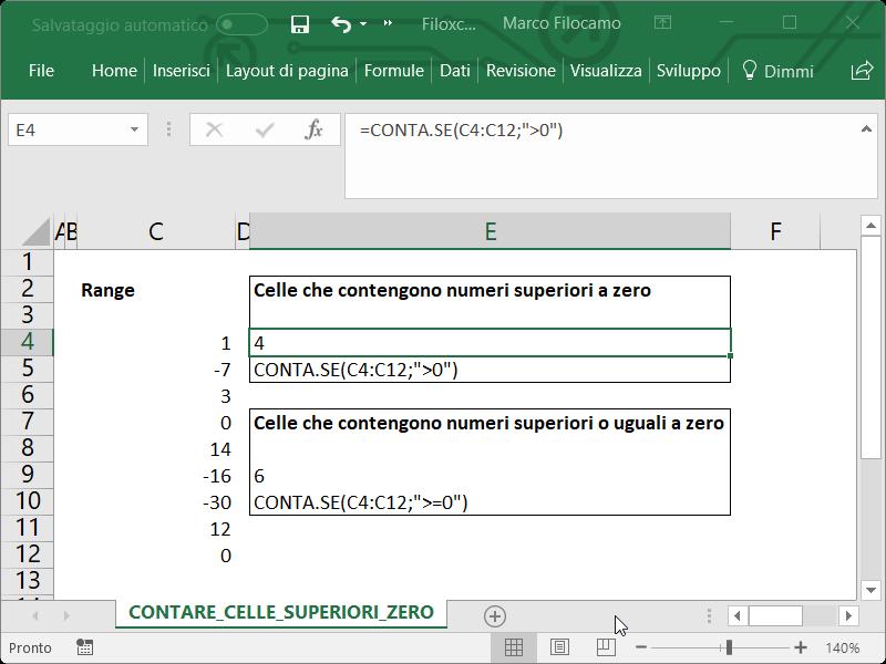 Microsoft Excel Contare Celle Superiori Zero