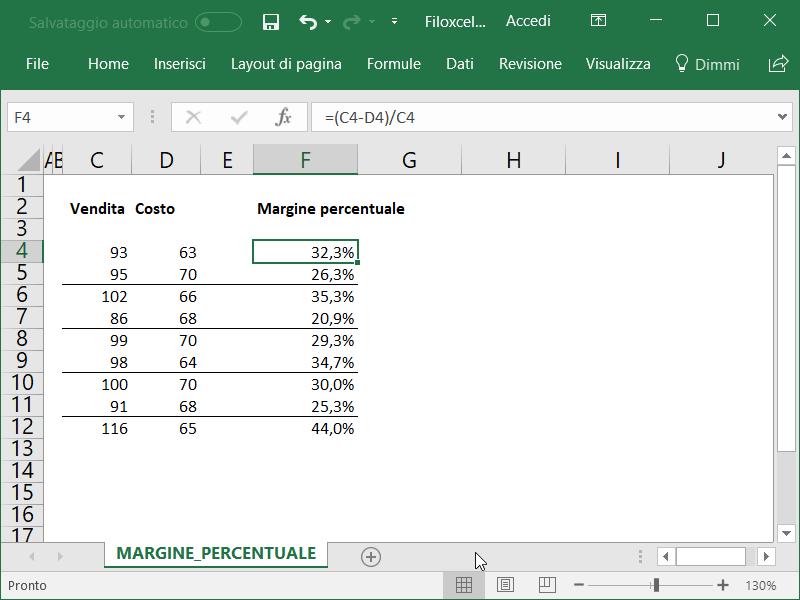 Microsoft Excel Margine Percentuale