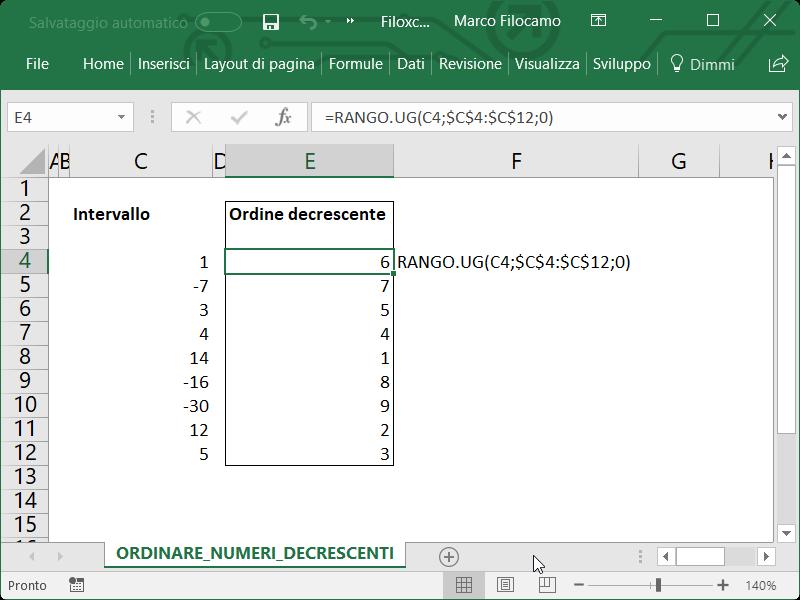 Microsoft Excel Ordinare Numeri Decrescenti