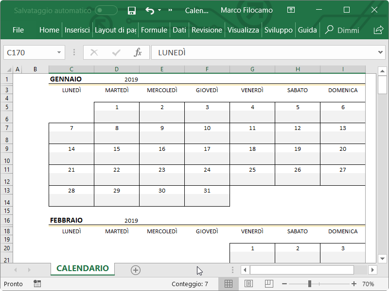 Inserire Calendario In Excel.Calendario Excel 2019 Guide Microsoft Excel