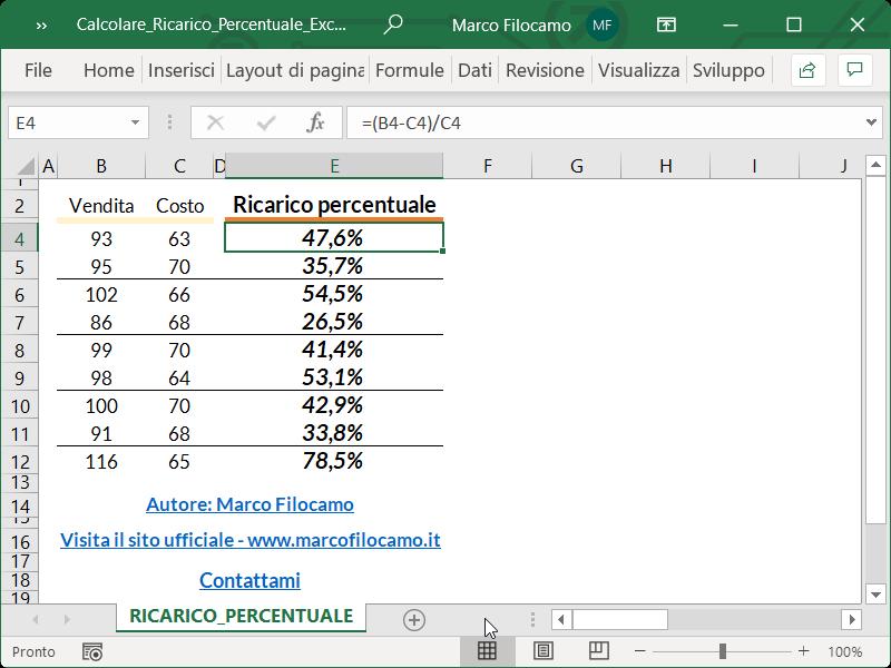 Microsoft_Excel_Calcolare_Ricarico_Percentuale