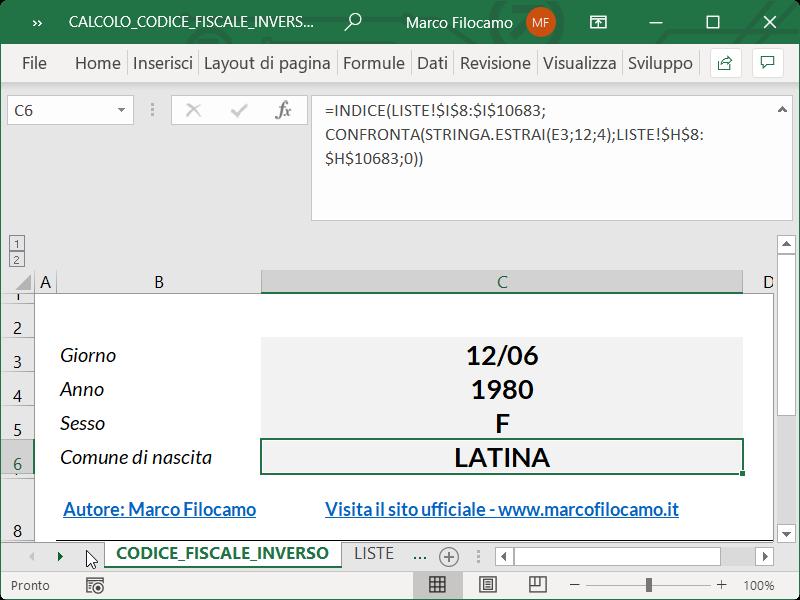 Microsoft_Excel_Calcolo_Codice_Fiscale_Inverso_Comune
