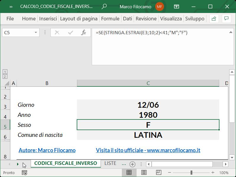 Microsoft_Excel_Calcolo_Codice_Fiscale_Inverso_Sesso