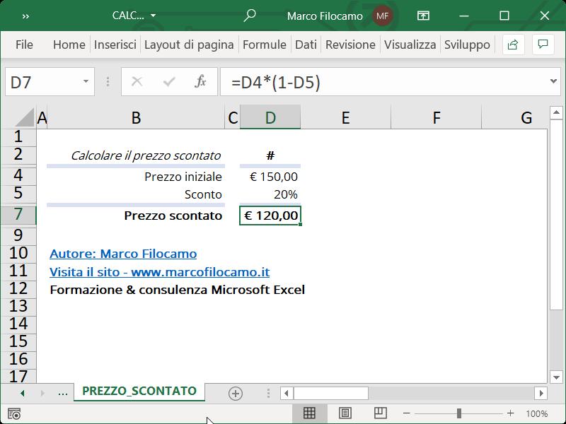 Microsoft_Excel_Calcolo_Prezzo_Scontato_Sconto