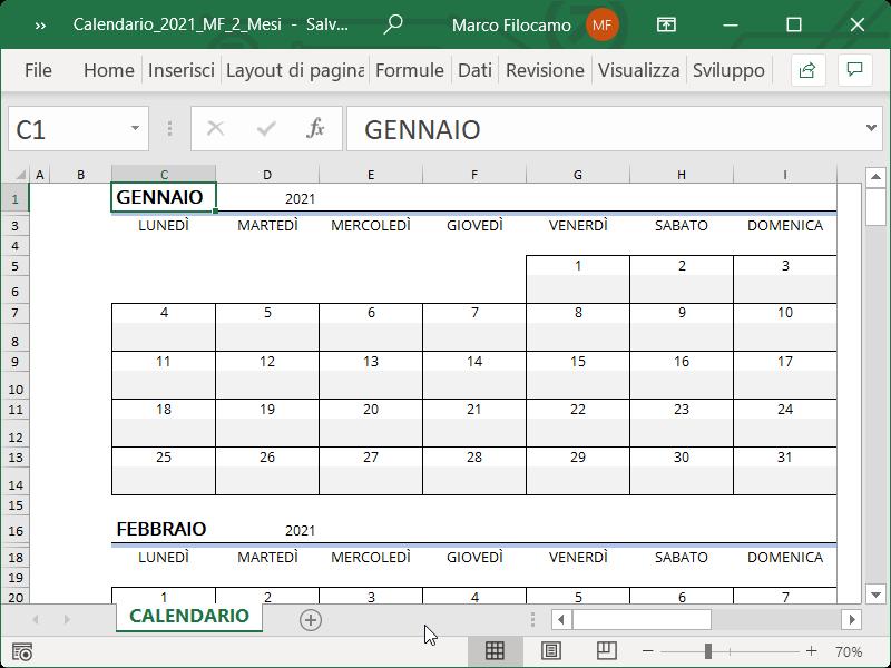 Calendario 2021 Annuale Excel Calendario Excel 2021   Excel per professionisti