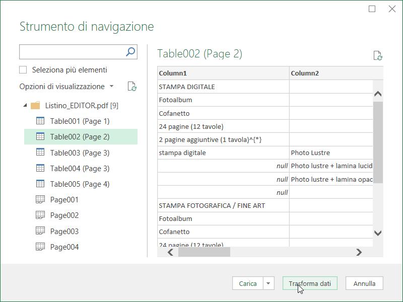 Power Query Excel Tabella PDF