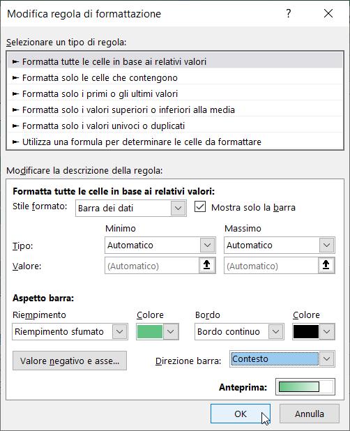 Formattazione Condizionale Excel Barre Dati Modifica Bordo No Numeri