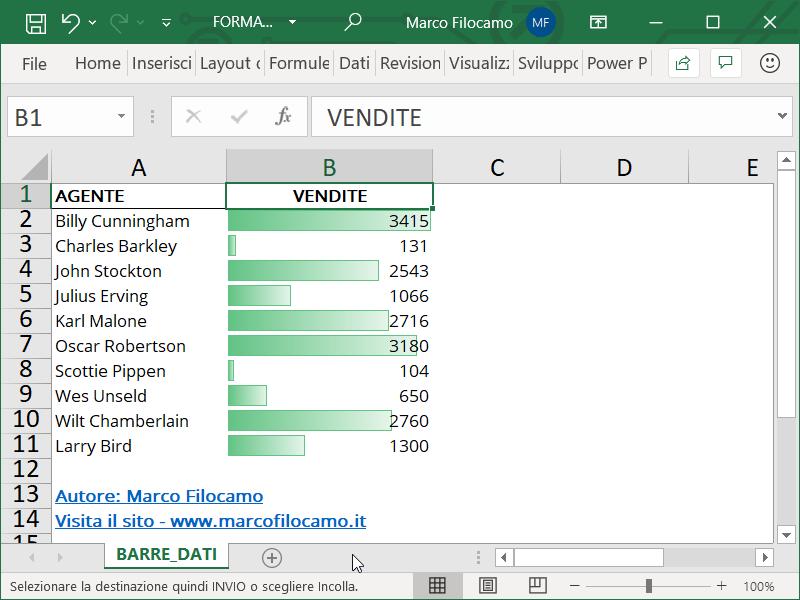 Formattazione Condizionale Excel Barre Dati Preliminare