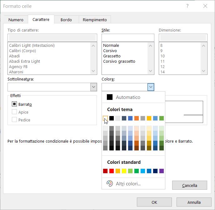 Formattazione Condizionale Excel Carattere Testo