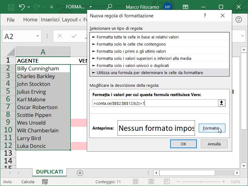 Formattazione Condizionale Excel Duplicati Condizione Testo