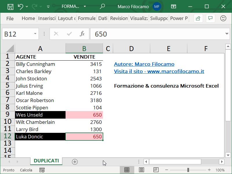 Formattazione Condizionale Excel Duplicati Fine