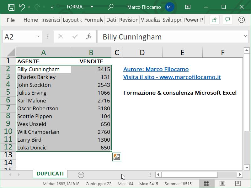 Formattazione Condizionale Excel Duplicati Inizio