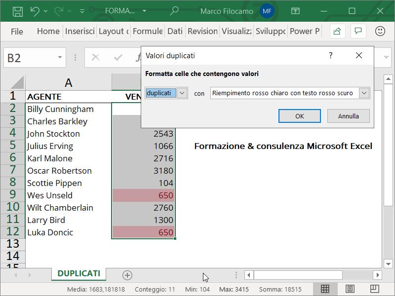 Formattazione Condizionale Excel Duplicati Numeri