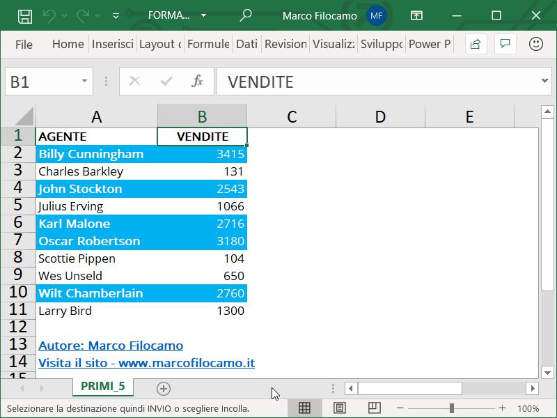 Formattazione Condizionale Excel Primi 5 Finale