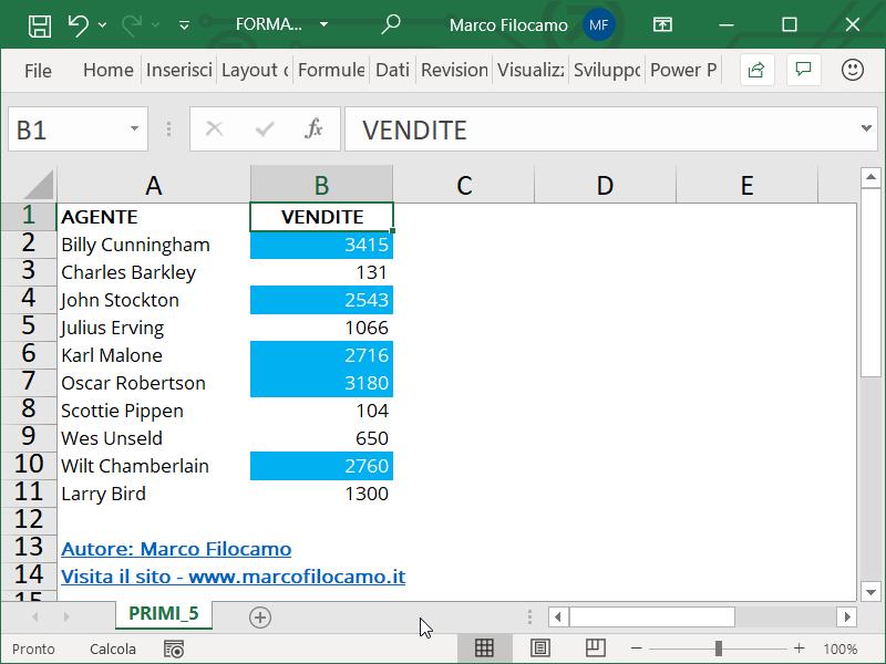 Formattazione Condizionale Excel Primi 5 Parziale
