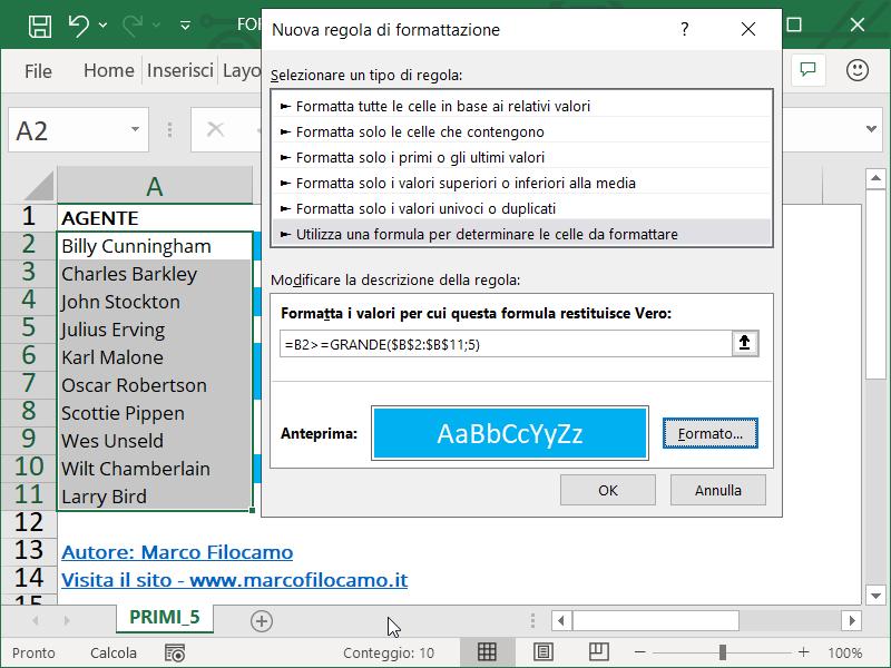 Formattazione Condizionale Excel Primi 5 Testo