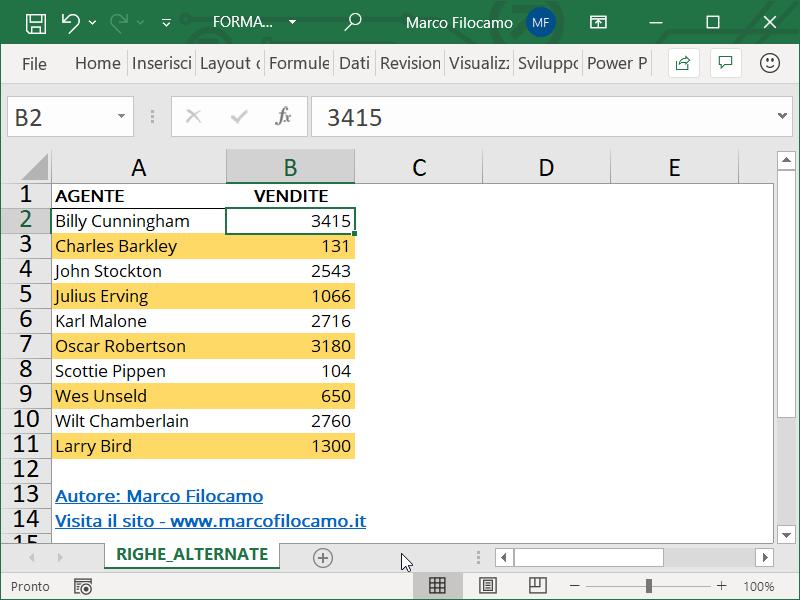 Formattazione Condizionale Excel Righe Alternate Esempio