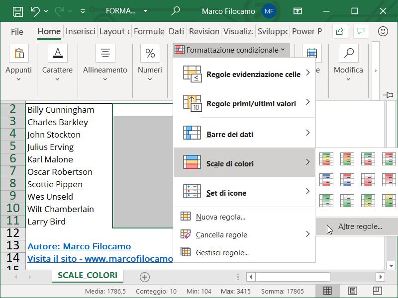 Formattazione Condizionale Excel Scale Colori Inizio
