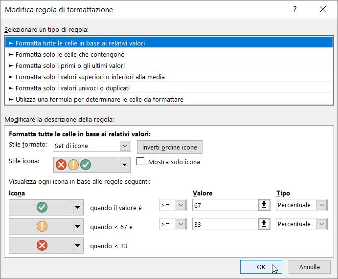 Formattazione Condizionale Excel Set Icone Condizione