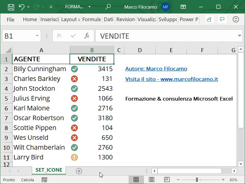 Formattazione Condizionale Excel Set Icone Finale