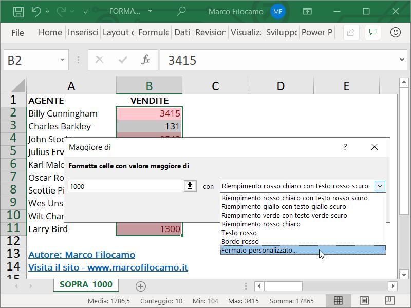 Formattazione Condizionale Excel Superiori 1000