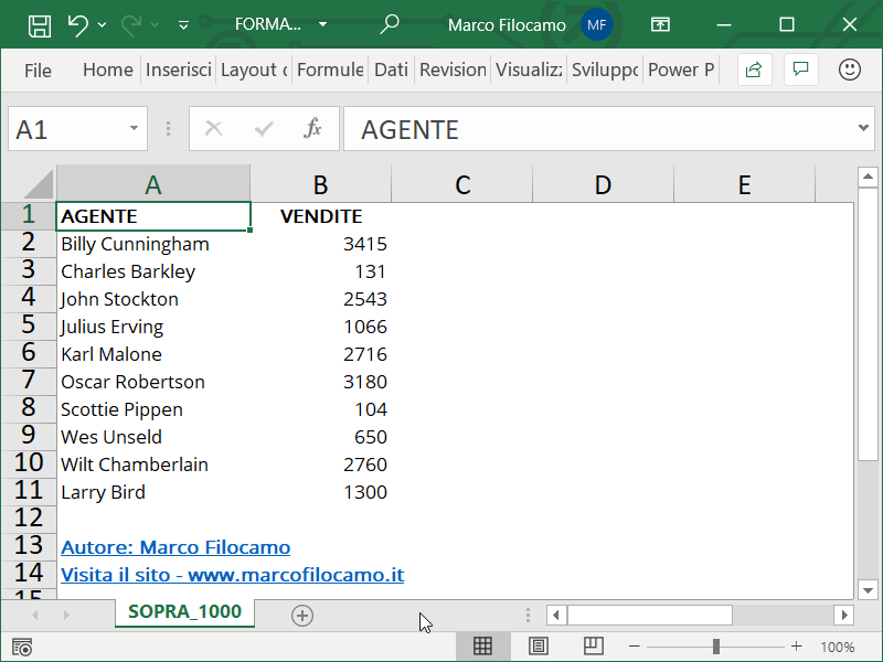 Formattazione Condizionale Excel Superiori 1000 Inizio