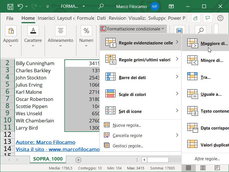 Formattazione Condizionale Excel Superiori Inizio