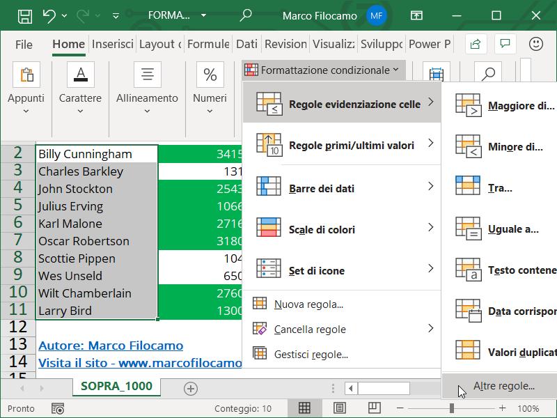 Formattazione Condizionale Excel Superiori Testo Numeri
