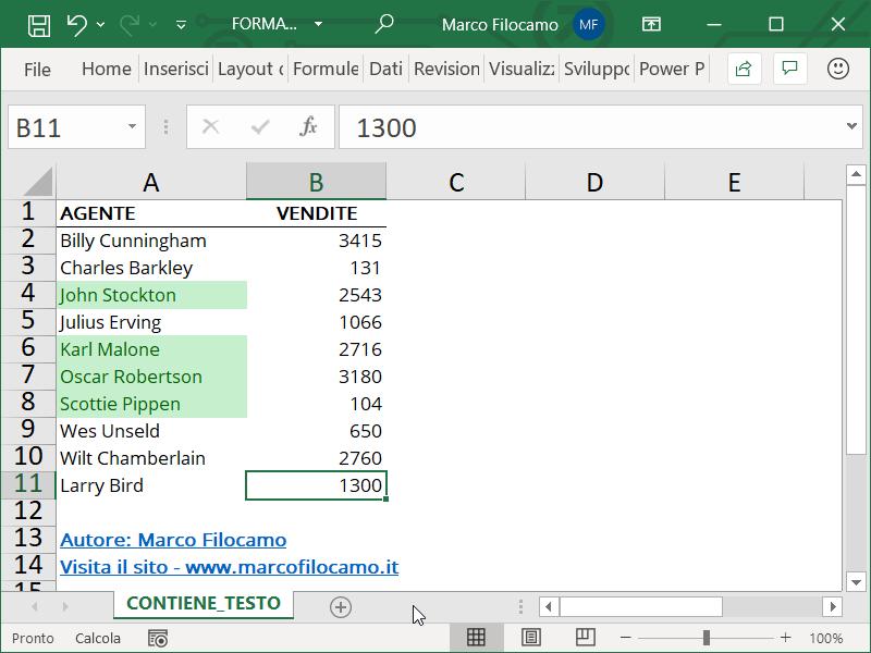 Formattazione Condizionale Excel Testo Contiene Esempio