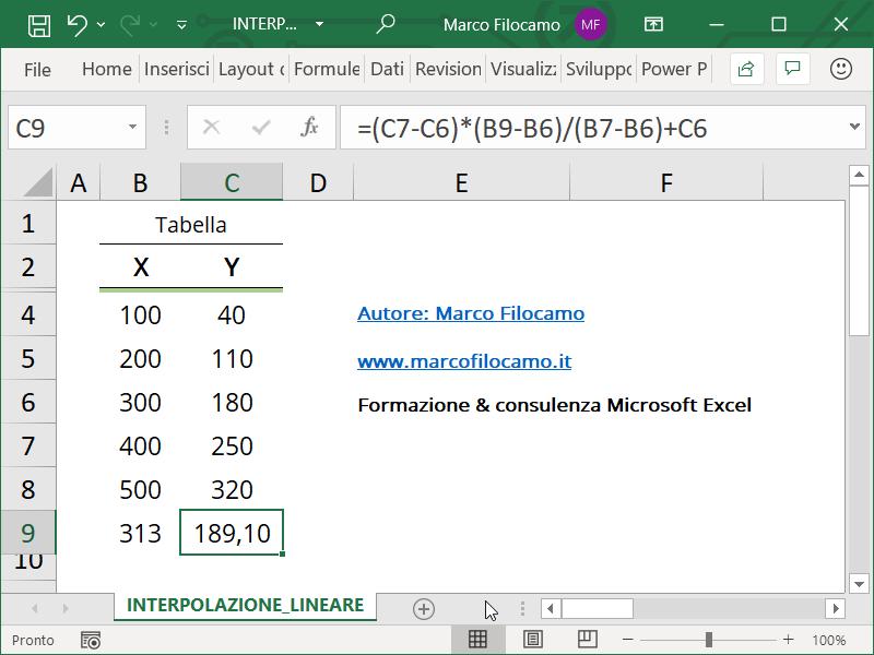 Calcolare Interpolazione Lineare Microsoft Excel Valore Da Trovare Soluzione senza utilizzare funzioni