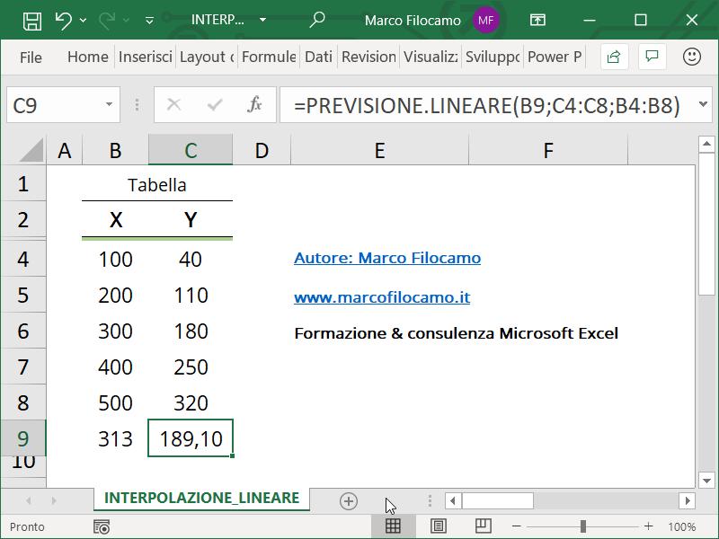 Calcolare Interpolazione Lineare Microsoft Excel Valore Da Trovare Soluzione utilizzando la funzione PREVISIONE.LINEARE