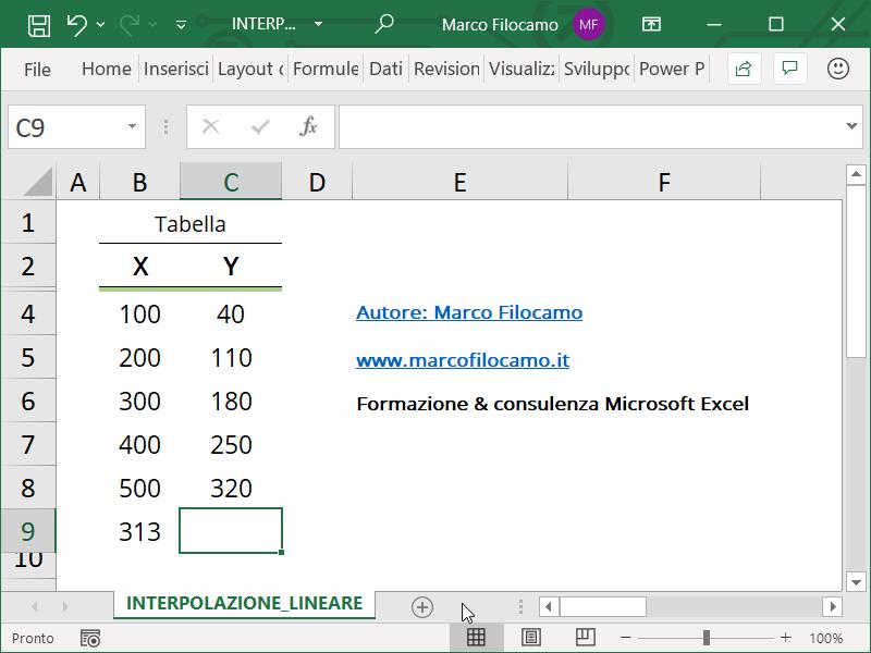 Calcolare Interpolazione Lineare Microsoft Excel Valore Da Trovare