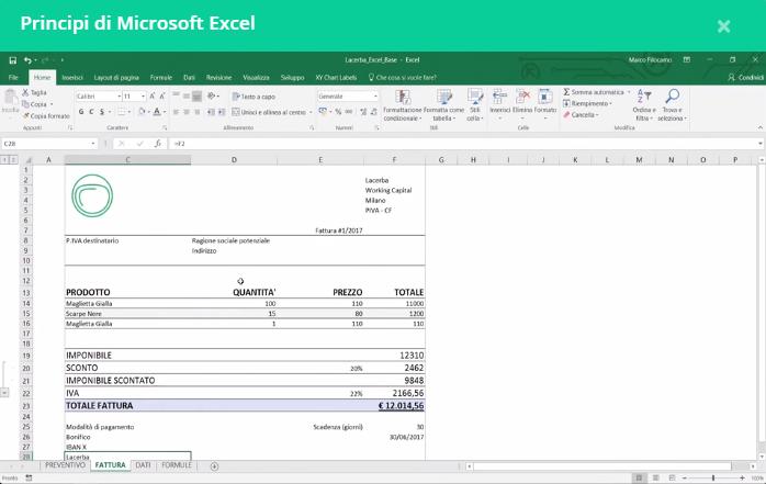Screenshot Corsi Excel Gratuiti Lacerba Preventivo Fattura