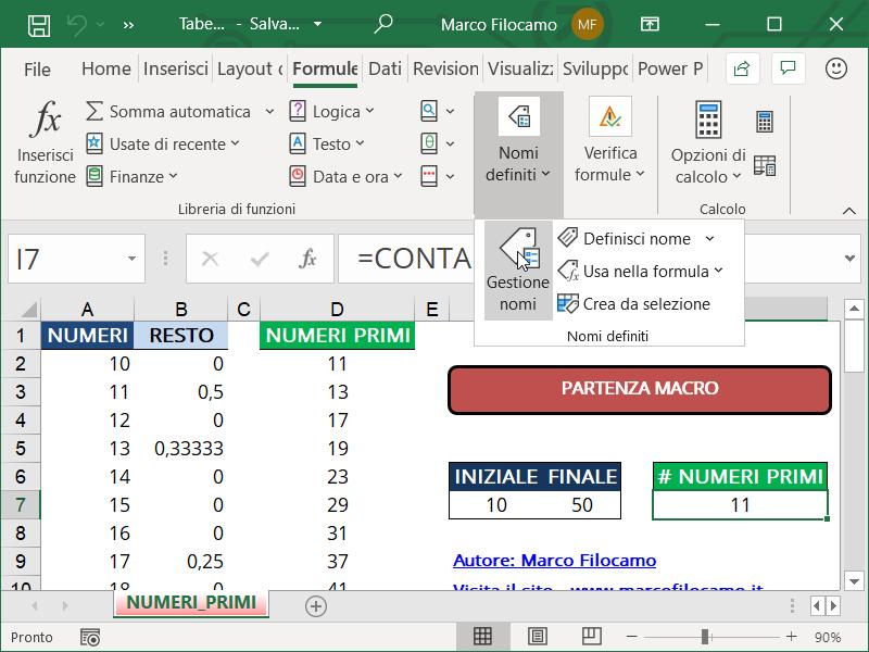 Schermata Microsoft Excel creazione nomi definiti