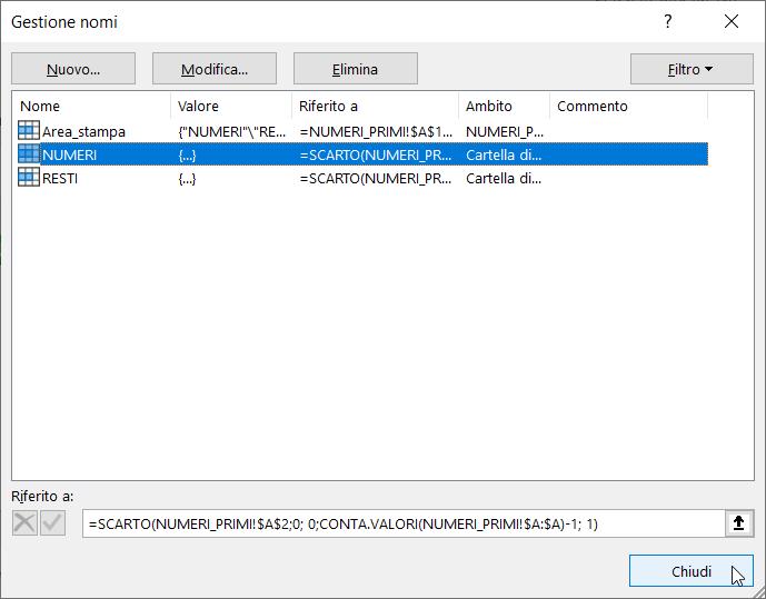 Schermata Microsoft Excel Tabella Numeri Primi nome definito NUMERI