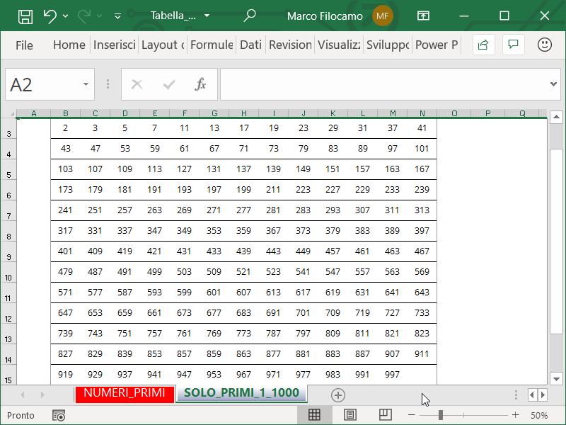 Schermata Microsoft Excel Tabella Numeri Primi da 1 a 1000 da stampare