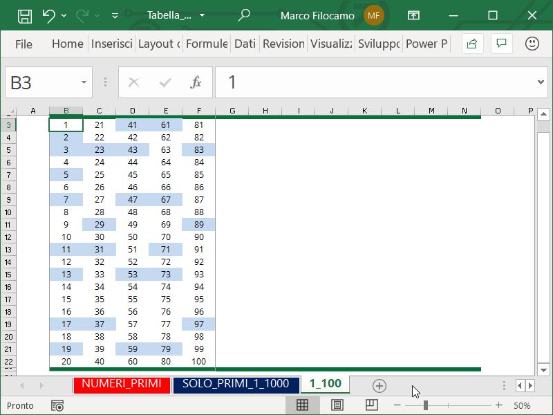 Schermata Microsoft Excel Tabella Numeri Primi da 1 a 100 evidenziando i numeri primi