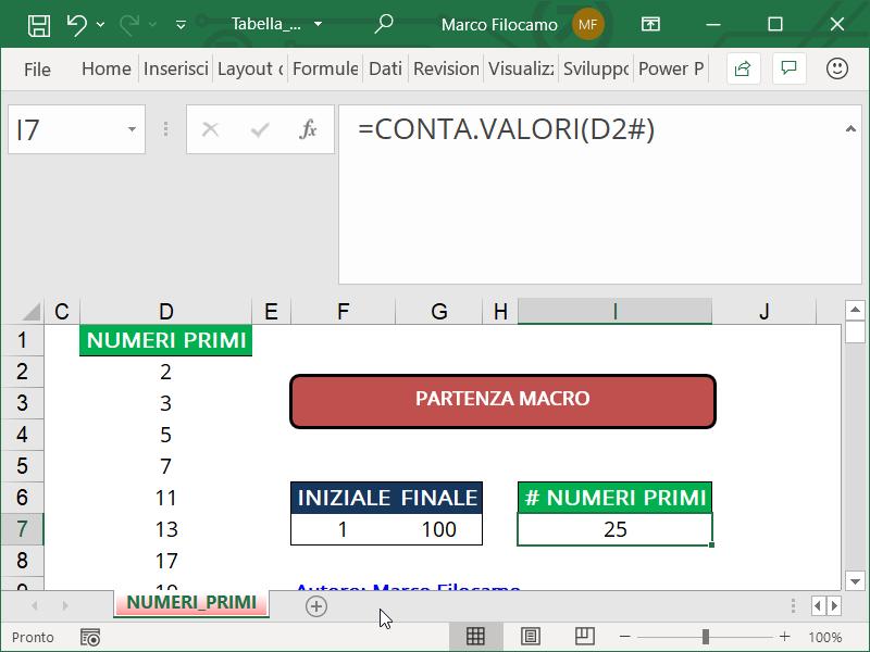 Schermata Microsoft Excel Tabella Numeri Primi contare i numeri primi