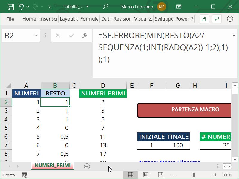 Schermata Microsoft Excel Tabella Numeri Primi funzione per determinare il resto minimo