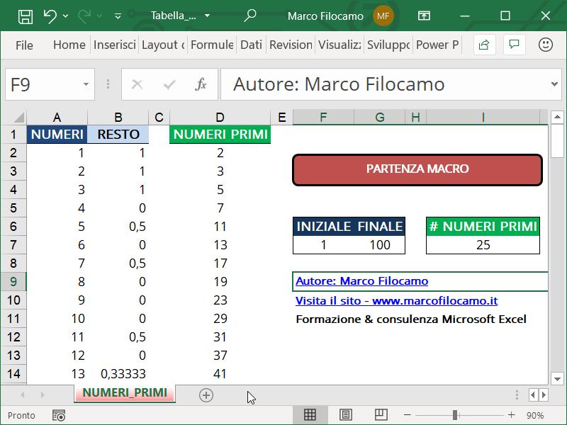 Schermata Microsoft Excel Tabella Numeri Primi Recap