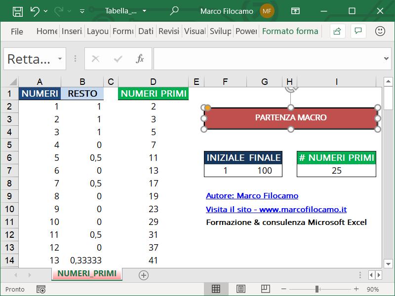 Schermata Microsoft Excel Tabella Numeri Primi forma per partenza macro