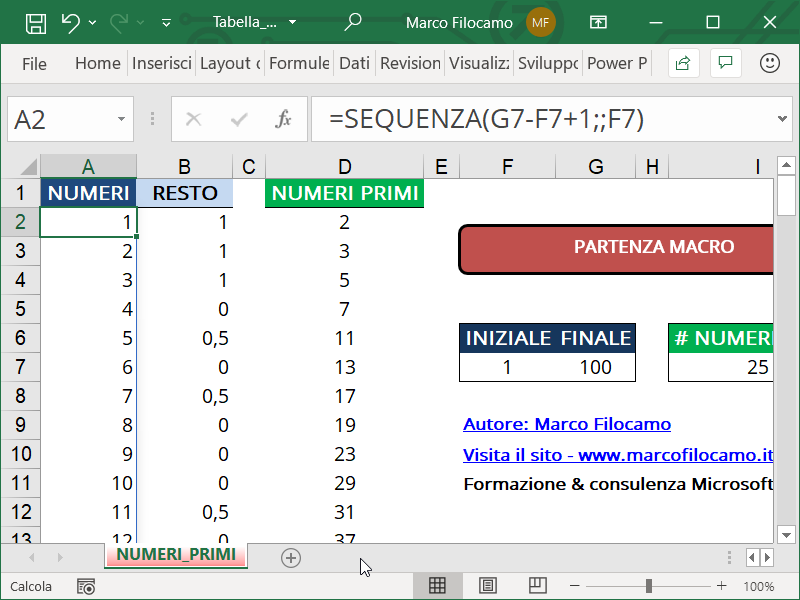Schermata Microsoft Excel Tabella Numeri Primi sequenza numeri variabile