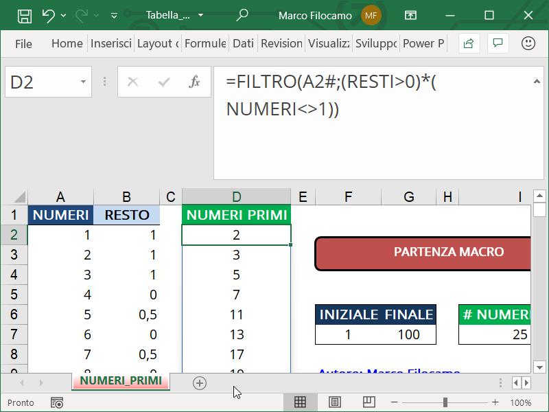 Schermata Microsoft Excel Tabella Numeri Primi con funzione FILTRO